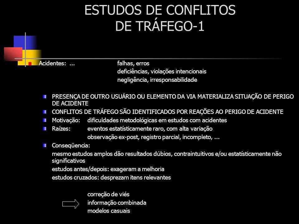 ESTUDOS DE CONFLITOS DE TRÁFEGO-1 Acidentes:... falhas, erros deficiências, violações intencionais negligência, irresponsabilidade PRESENÇA DE OUTRO U