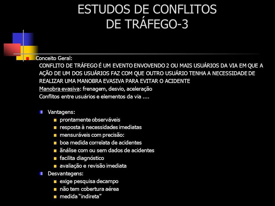 ESTUDOS DE CONFLITOS DE TRÁFEGO-3 Conceito Geral: CONFLITO DE TRÁFEGO É UM EVENTO ENVOVENDO 2 OU MAIS USUÁRIOS DA VIA EM QUE A AÇÃO DE UM DOS USUÁRIOS