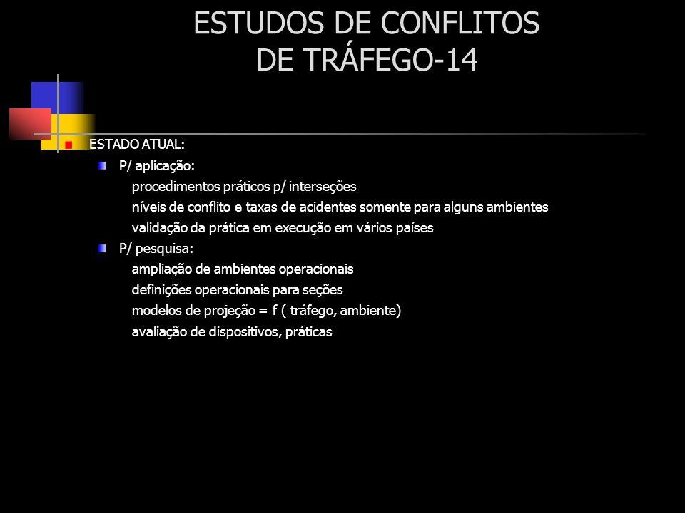 ESTUDOS DE CONFLITOS DE TRÁFEGO-14 ESTADO ATUAL: P/ aplicação: procedimentos práticos p/ interseções níveis de conflito e taxas de acidentes somente p