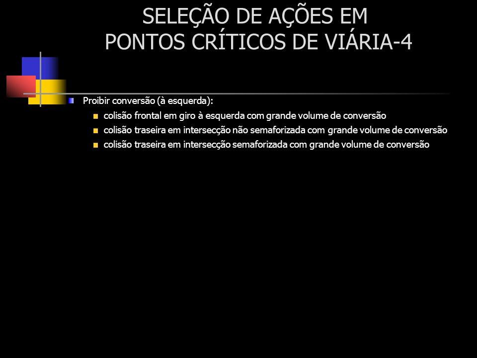 SELEÇÃO DE AÇÕES EM PONTOS CRÍTICOS DE VIÁRIA-4 Proibir conversão (à esquerda): colisão frontal em giro à esquerda com grande volume de conversão coli