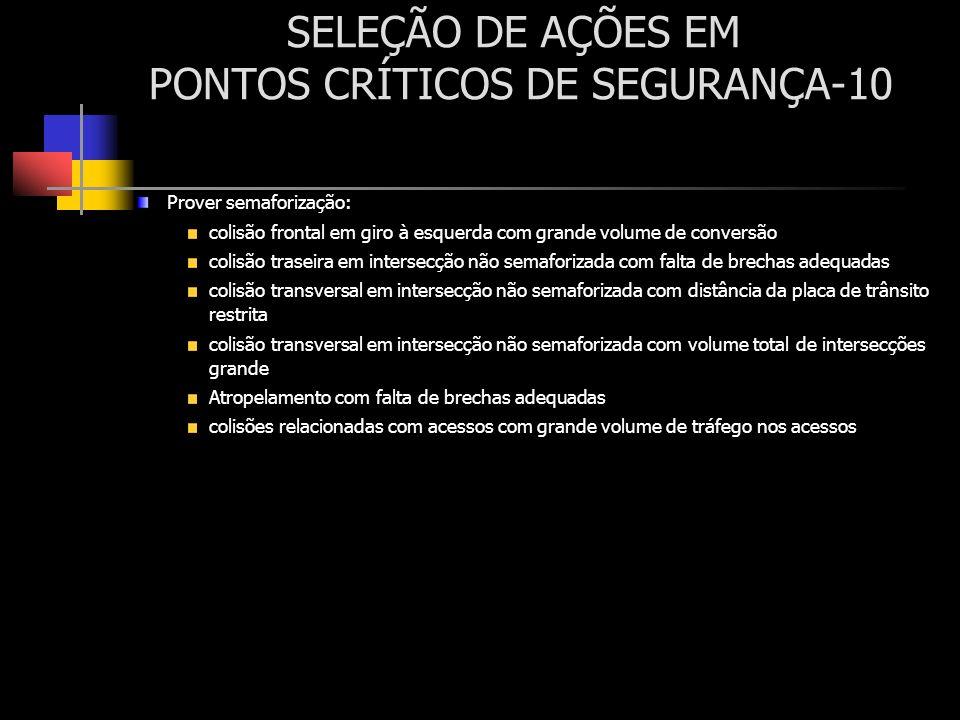 SELEÇÃO DE AÇÕES EM PONTOS CRÍTICOS DE SEGURANÇA-10 Prover semaforização: colisão frontal em giro à esquerda com grande volume de conversão colisão tr
