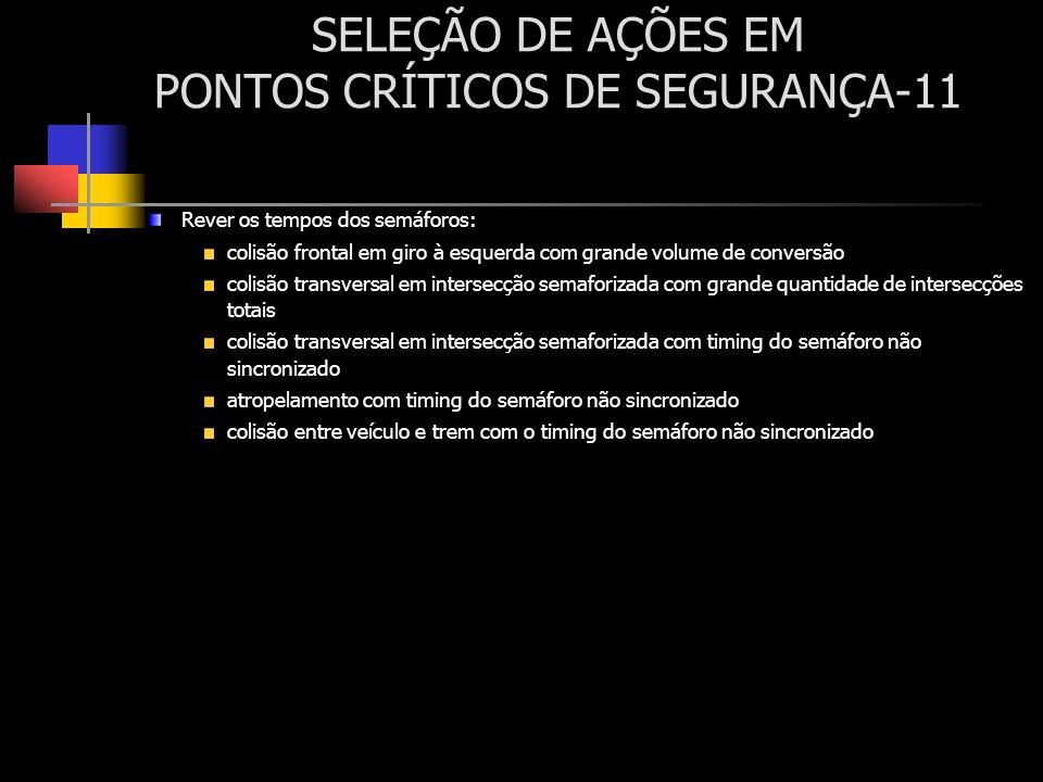 SELEÇÃO DE AÇÕES EM PONTOS CRÍTICOS DE SEGURANÇA-11 Rever os tempos dos semáforos: colisão frontal em giro à esquerda com grande volume de conversão c