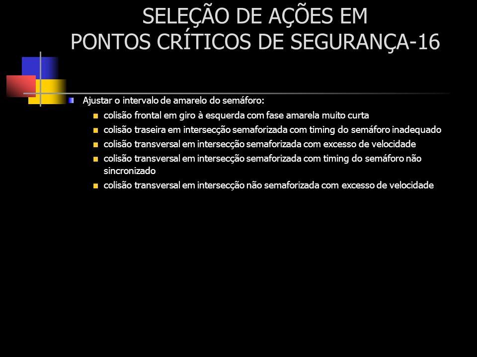 SELEÇÃO DE AÇÕES EM PONTOS CRÍTICOS DE SEGURANÇA-16 Ajustar o intervalo de amarelo do semáforo: colisão frontal em giro à esquerda com fase amarela mu