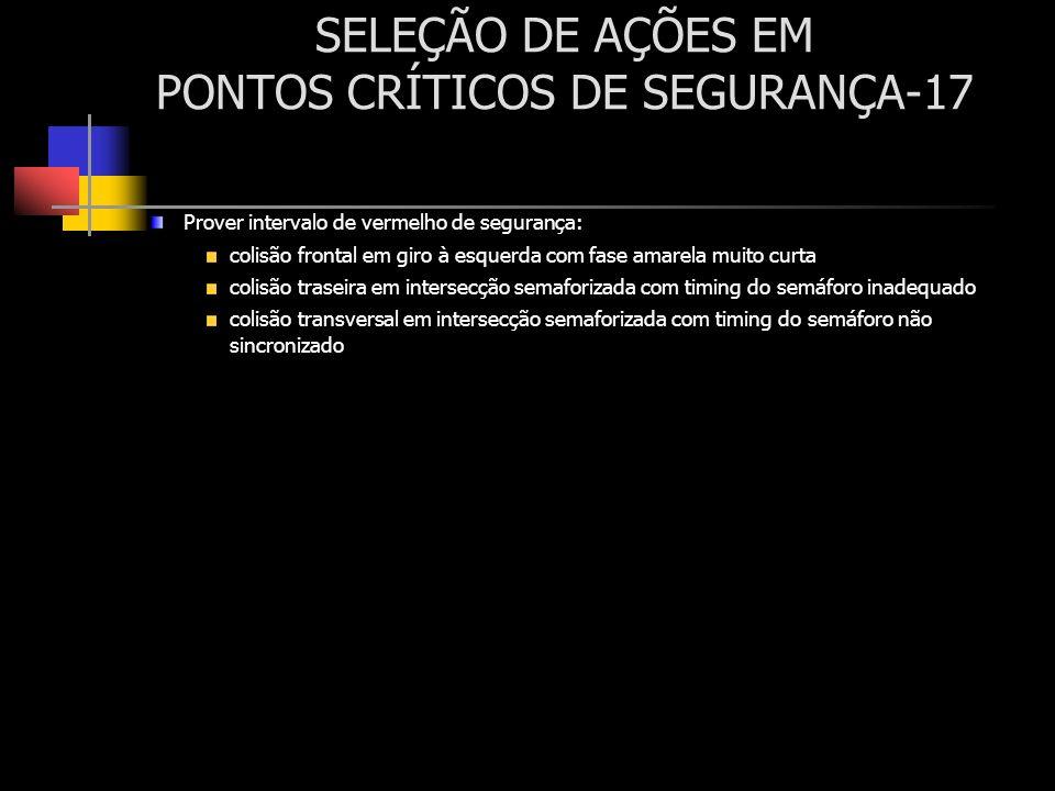 SELEÇÃO DE AÇÕES EM PONTOS CRÍTICOS DE SEGURANÇA-17 Prover intervalo de vermelho de segurança: colisão frontal em giro à esquerda com fase amarela mui