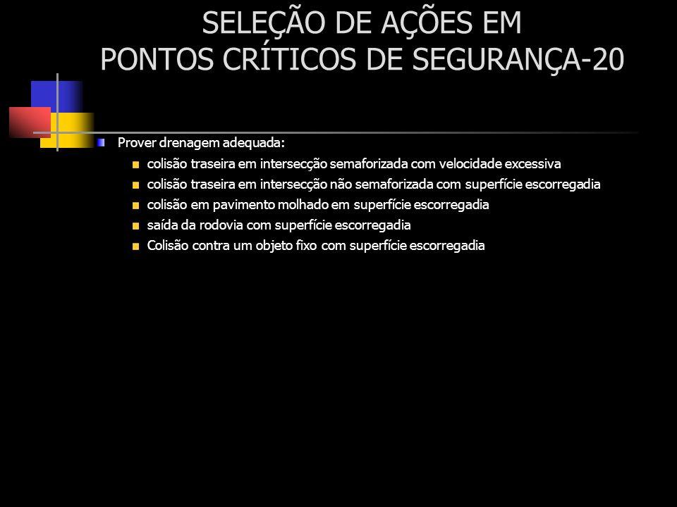 SELEÇÃO DE AÇÕES EM PONTOS CRÍTICOS DE SEGURANÇA-20 Prover drenagem adequada: colisão traseira em intersecção semaforizada com velocidade excessiva co