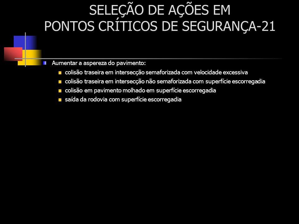 SELEÇÃO DE AÇÕES EM PONTOS CRÍTICOS DE SEGURANÇA-21 Aumentar a aspereza do pavimento: colisão traseira em intersecção semaforizada com velocidade exce