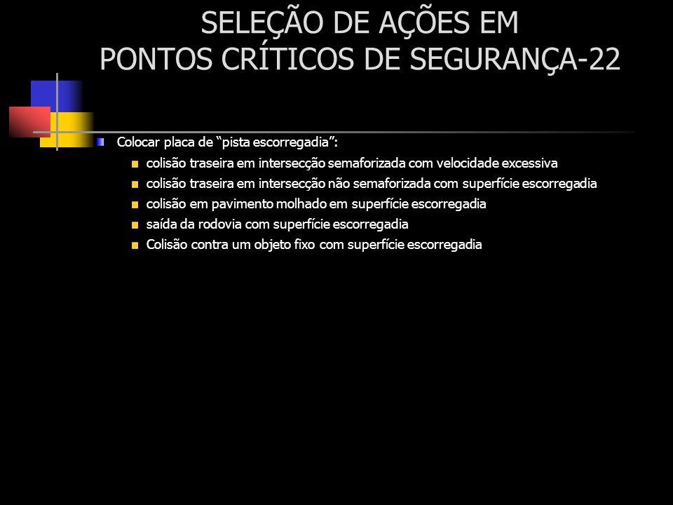 SELEÇÃO DE AÇÕES EM PONTOS CRÍTICOS DE SEGURANÇA-22 Colocar placa de pista escorregadia: colisão traseira em intersecção semaforizada com velocidade e