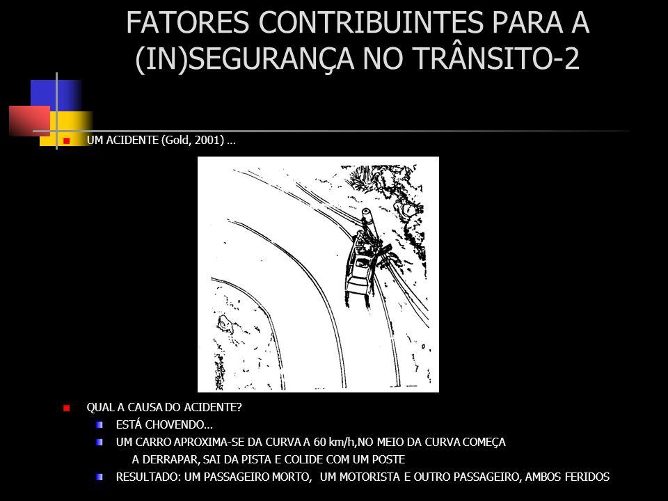 FATORES CONTRIBUINTES PARA A (IN)SEGURANÇA NO TRÂNSITO-2 UM ACIDENTE (Gold, 2001) … QUAL A CAUSA DO ACIDENTE? ESTÁ CHOVENDO… UM CARRO APROXIMA-SE DA C