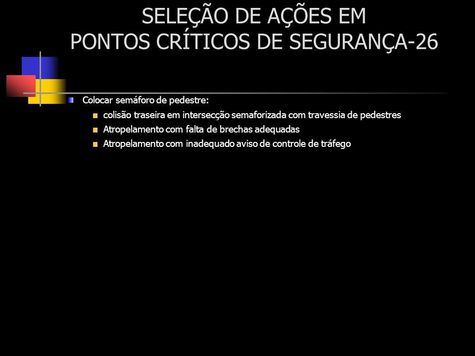 SELEÇÃO DE AÇÕES EM PONTOS CRÍTICOS DE SEGURANÇA-26 Colocar semáforo de pedestre: colisão traseira em intersecção semaforizada com travessia de pedest