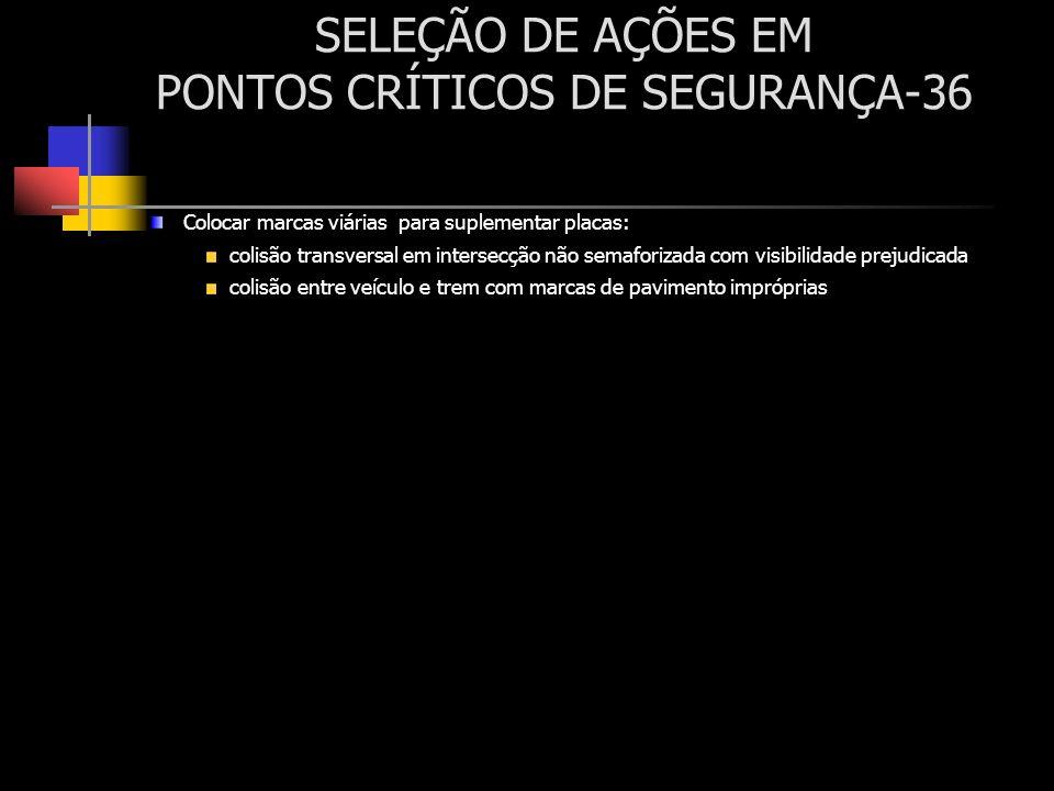 SELEÇÃO DE AÇÕES EM PONTOS CRÍTICOS DE SEGURANÇA-36 Colocar marcas viárias para suplementar placas: colisão transversal em intersecção não semaforizad