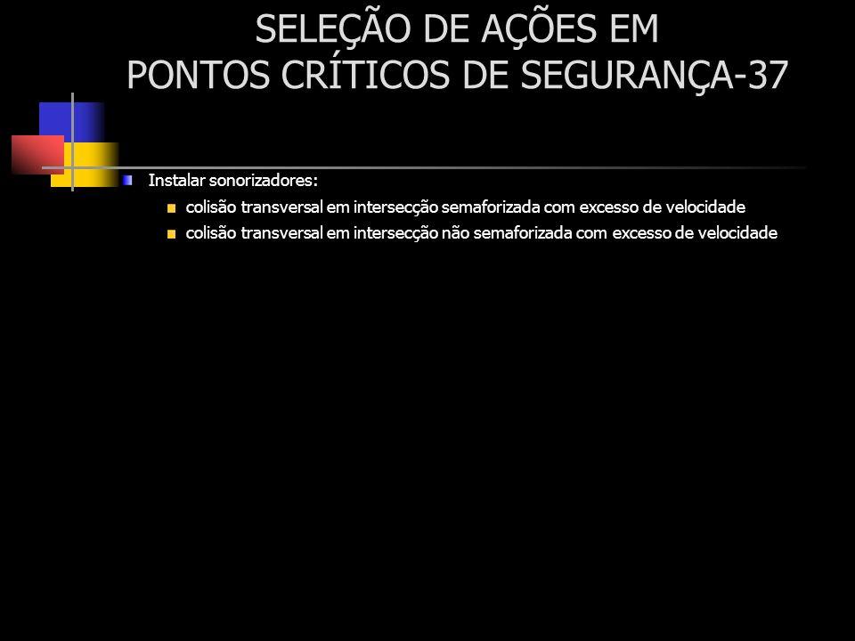 SELEÇÃO DE AÇÕES EM PONTOS CRÍTICOS DE SEGURANÇA-37 Instalar sonorizadores: colisão transversal em intersecção semaforizada com excesso de velocidade