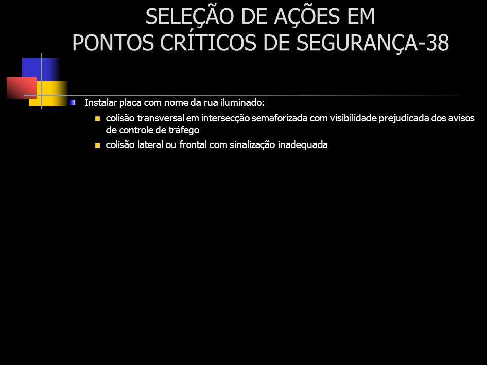 SELEÇÃO DE AÇÕES EM PONTOS CRÍTICOS DE SEGURANÇA-38 Instalar placa com nome da rua iluminado: colisão transversal em intersecção semaforizada com visi