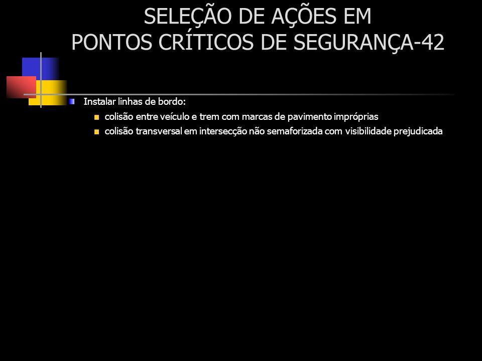 SELEÇÃO DE AÇÕES EM PONTOS CRÍTICOS DE SEGURANÇA-42 Instalar linhas de bordo: colisão entre veículo e trem com marcas de pavimento impróprias colisão
