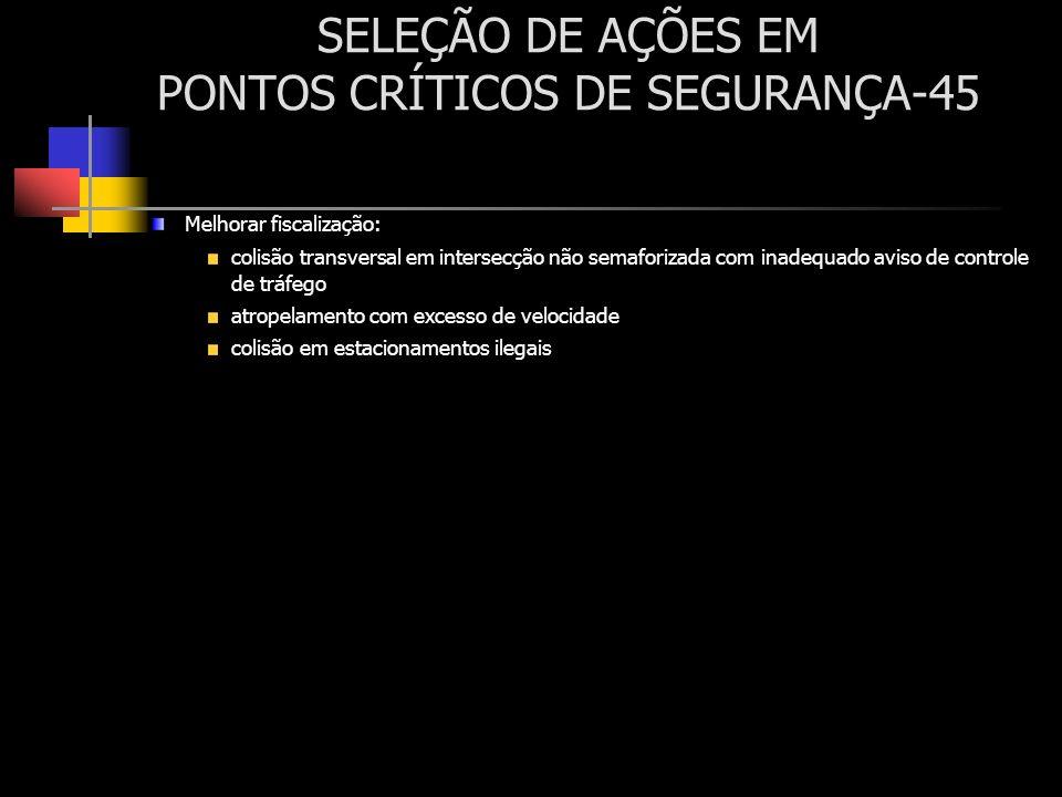 SELEÇÃO DE AÇÕES EM PONTOS CRÍTICOS DE SEGURANÇA-45 Melhorar fiscalização: colisão transversal em intersecção não semaforizada com inadequado aviso de