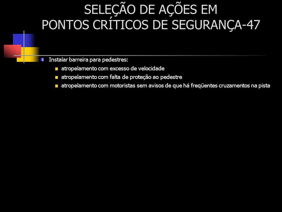 SELEÇÃO DE AÇÕES EM PONTOS CRÍTICOS DE SEGURANÇA-47 Instalar barreira para pedestres: atropelamento com excesso de velocidade atropelamento com falta