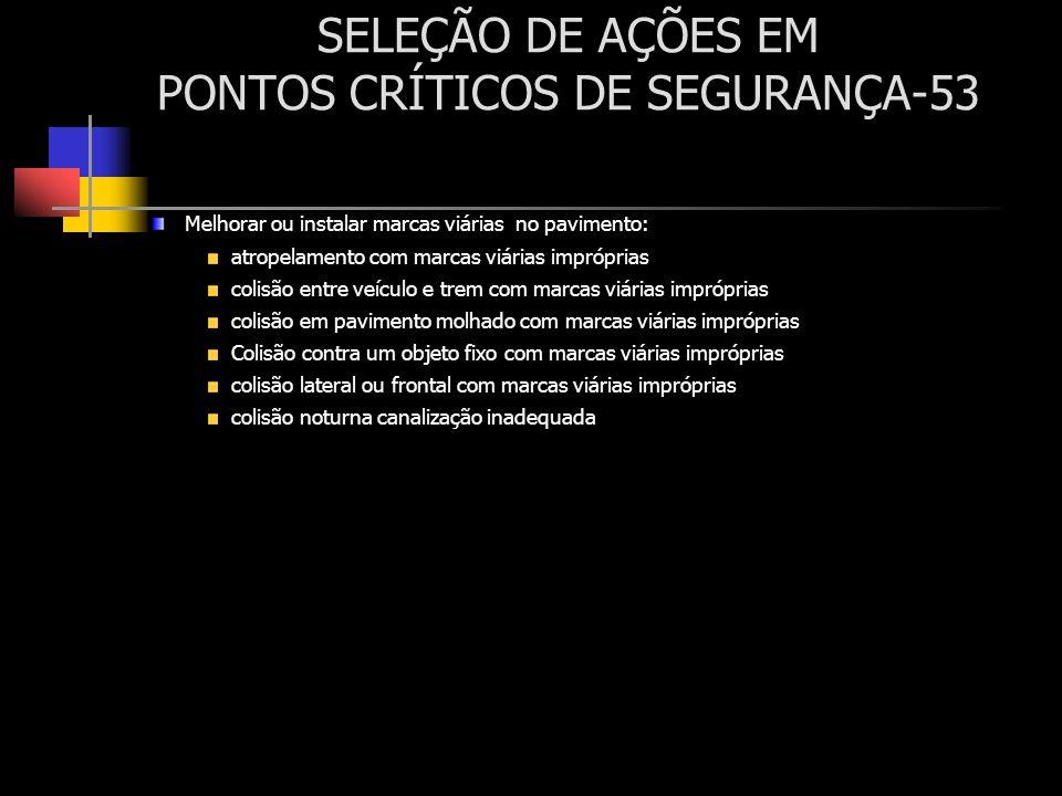 SELEÇÃO DE AÇÕES EM PONTOS CRÍTICOS DE SEGURANÇA-53 Melhorar ou instalar marcas viárias no pavimento: atropelamento com marcas viárias impróprias coli