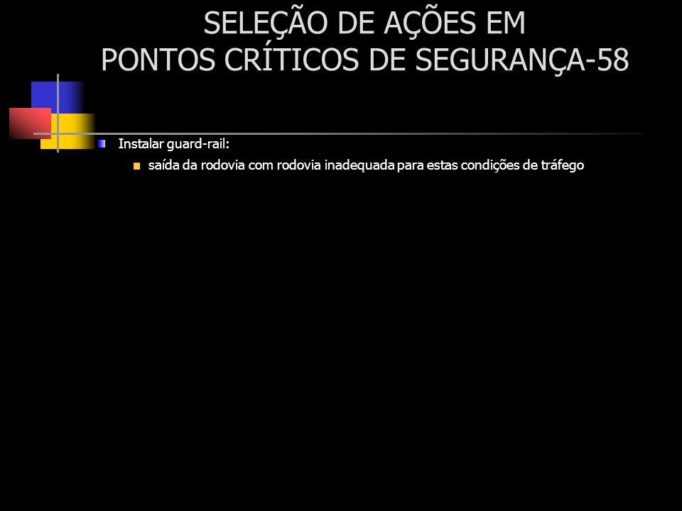 SELEÇÃO DE AÇÕES EM PONTOS CRÍTICOS DE SEGURANÇA-58 Instalar guard-rail: saída da rodovia com rodovia inadequada para estas condições de tráfego