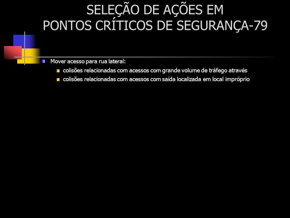 SELEÇÃO DE AÇÕES EM PONTOS CRÍTICOS DE SEGURANÇA-79 Mover acesso para rua lateral: colisões relacionadas com acessos com grande volume de tráfego atra