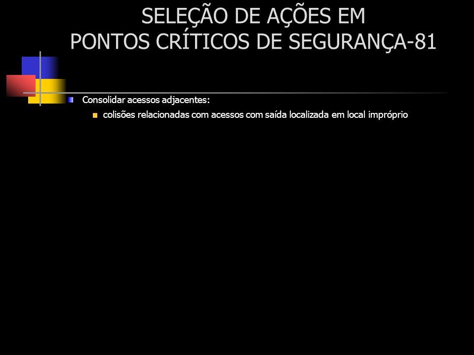 SELEÇÃO DE AÇÕES EM PONTOS CRÍTICOS DE SEGURANÇA-81 Consolidar acessos adjacentes: colisões relacionadas com acessos com saída localizada em local imp
