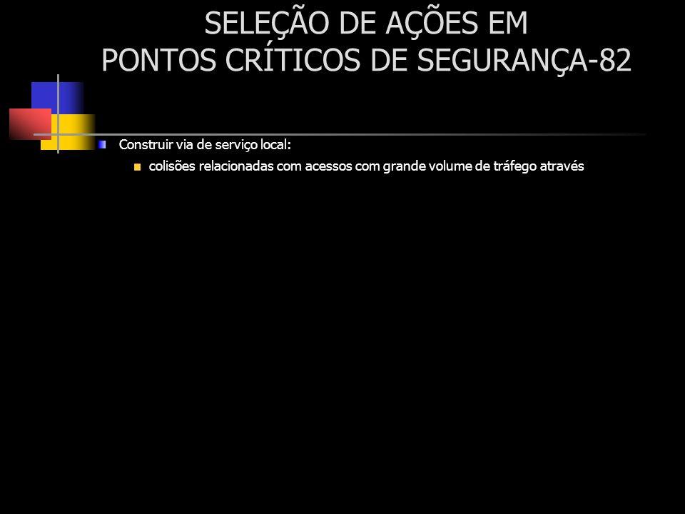 SELEÇÃO DE AÇÕES EM PONTOS CRÍTICOS DE SEGURANÇA-82 Construir via de serviço local: colisões relacionadas com acessos com grande volume de tráfego atr