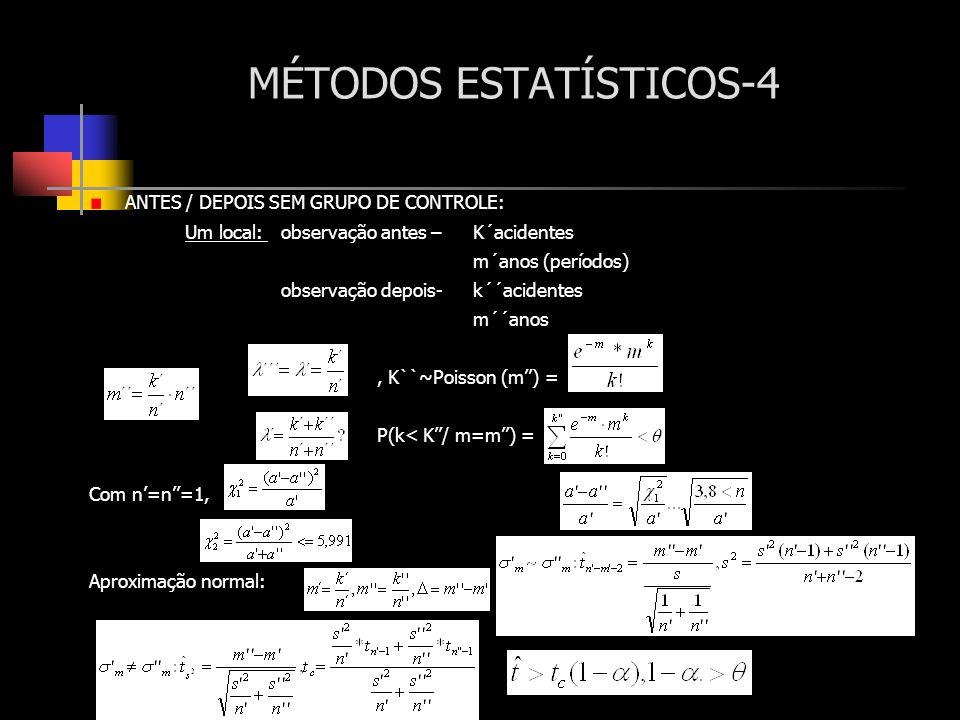 MÉTODOS ESTATÍSTICOS-4 ANTES / DEPOIS SEM GRUPO DE CONTROLE: Um local: observação antes – K´acidentes m´anos (períodos) observação depois- k´´acidente