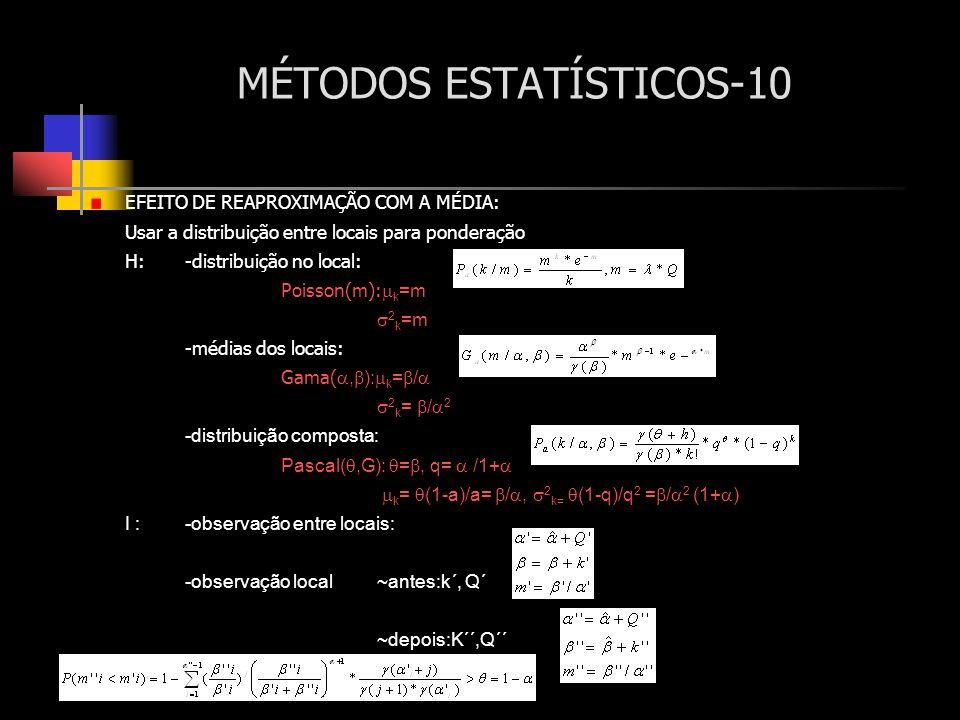 MÉTODOS ESTATÍSTICOS-10 EFEITO DE REAPROXIMAÇÃO COM A MÉDIA: Usar a distribuição entre locais para ponderação H:-distribuição no local: Poisson(m): k