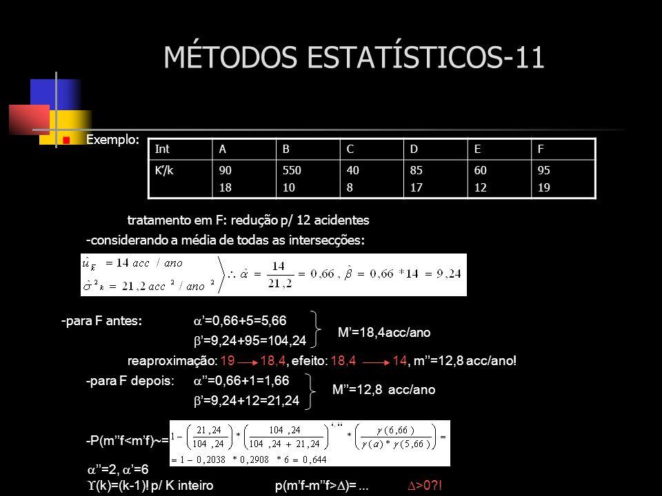 MÉTODOS ESTATÍSTICOS-11 Exemplo: tratamento em F: redução p/ 12 acidentes -considerando a média de todas as intersecções: -para F antes: =0,66+5=5,66
