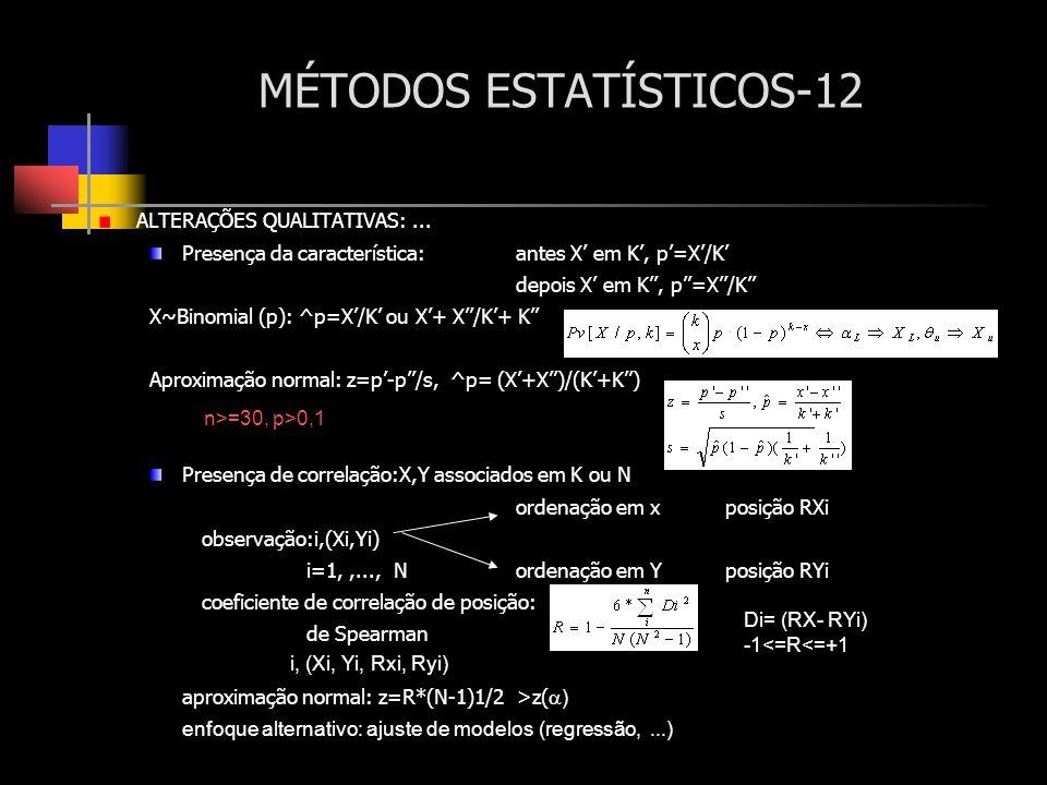 MÉTODOS ESTATÍSTICOS-12 ALTERAÇÕES QUALITATIVAS:... Presença da característica:antes X em K, p=X/K depois X em K, p=X/K X~Binomial (p): ^p=X/K ou X+ X