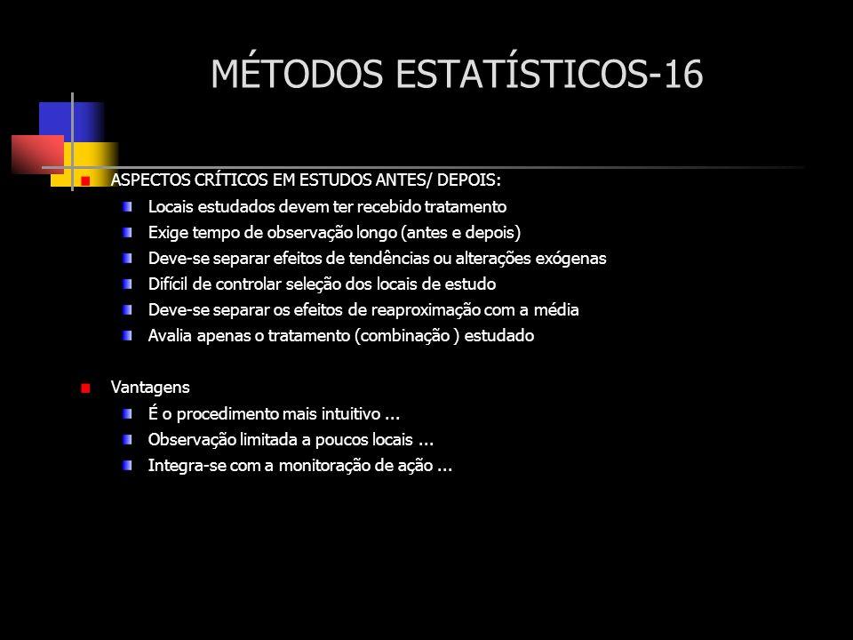 MÉTODOS ESTATÍSTICOS-16 ASPECTOS CRÍTICOS EM ESTUDOS ANTES/ DEPOIS: Locais estudados devem ter recebido tratamento Exige tempo de observação longo (an