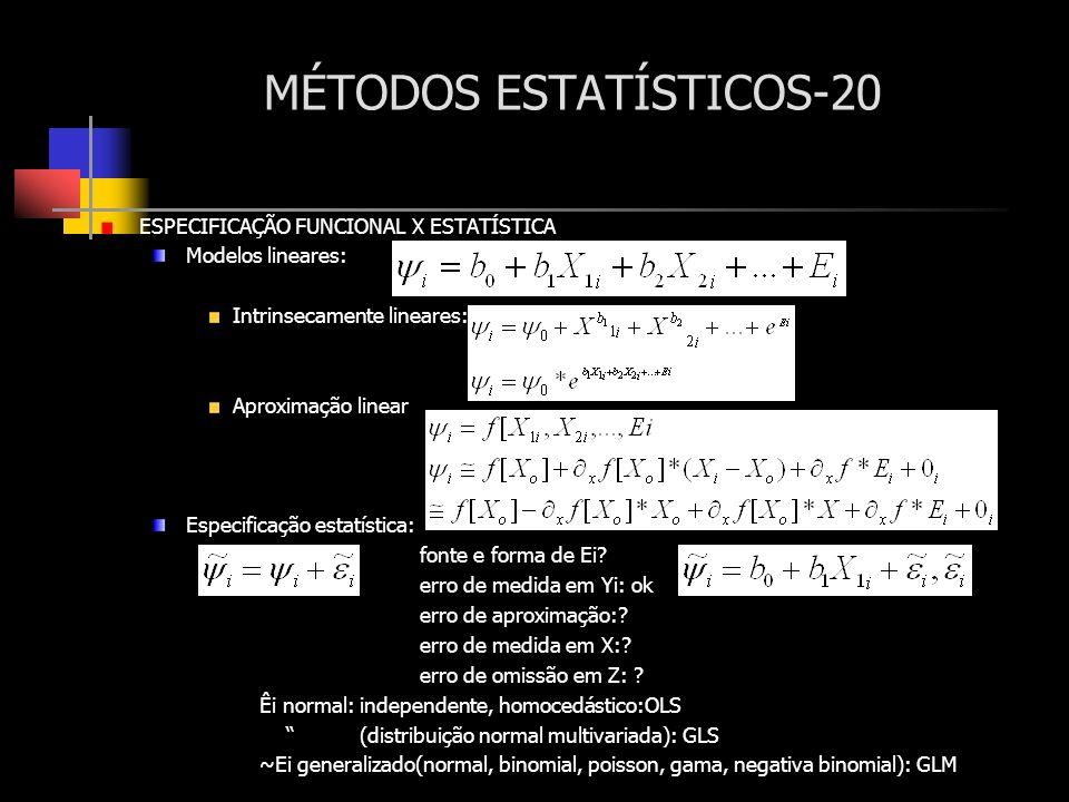 MÉTODOS ESTATÍSTICOS-20 ESPECIFICAÇÃO FUNCIONAL X ESTATÍSTICA Modelos lineares: Intrinsecamente lineares: Aproximação linear Especificação estatística