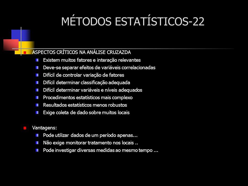 MÉTODOS ESTATÍSTICOS-22 ASPECTOS CRÍTICOS NA ANÁLISE CRUZAZDA Existem muitos fatores e interação relevantes Deve-se separar efeitos de variáveis corre