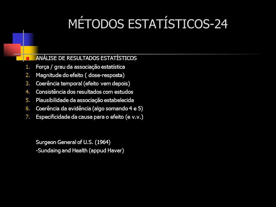 MÉTODOS ESTATÍSTICOS-24 ANÁLISE DE RESULTADOS ESTATÍSTICOS 1.Força / grau da associação estatística 2.Magnitude do efeito ( dose-resposta) 3.Coerência