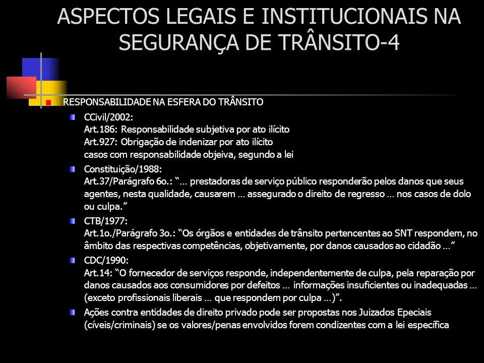 ASPECTOS LEGAIS E INSTITUCIONAIS NA SEGURANÇA DE TRÂNSITO-4 RESPONSABILIDADE NA ESFERA DO TRÂNSITO CCivil/2002: Art.186: Responsabilidade subjetiva po
