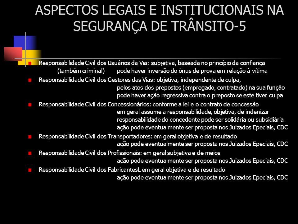 ASPECTOS LEGAIS E INSTITUCIONAIS NA SEGURANÇA DE TRÂNSITO-5 Responsabilidade Civil dos Usuários da Via: subjetiva, baseada no princípio da confiança (