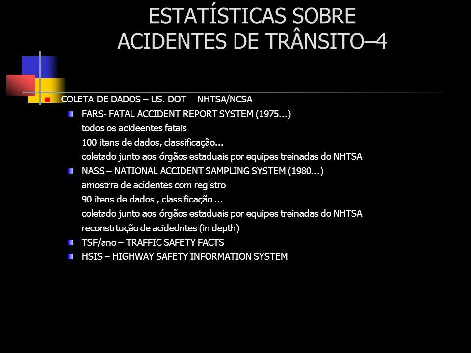 ESTATÍSTICAS SOBRE ACIDENTES DE TRÂNSITO–4 COLETA DE DADOS – US. DOT NHTSA/NCSA FARS- FATAL ACCIDENT REPORT SYSTEM (1975...) todos os acideentes fatai