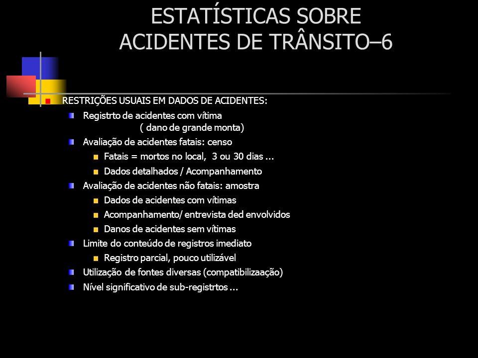 ESTATÍSTICAS SOBRE ACIDENTES DE TRÂNSITO–6 RESTRIÇÕES USUAIS EM DADOS DE ACIDENTES: Registrto de acidentes com vítima ( dano de grande monta) Avaliaçã