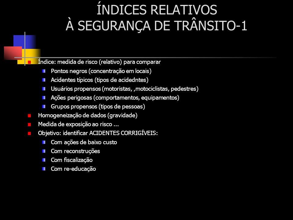 ÍNDICES RELATIVOS À SEGURANÇA DE TRÂNSITO-1 Índice: medida de risco (relativo) para comparar Pontos negros (concentração em locais) Acidentes típicos
