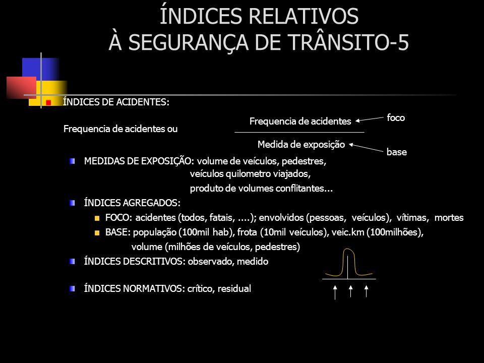 ÍNDICES RELATIVOS À SEGURANÇA DE TRÂNSITO-5 ÍNDICES DE ACIDENTES: MEDIDAS DE EXPOSIÇÃO: volume de veículos, pedestres, veículos quilometro viajados, p