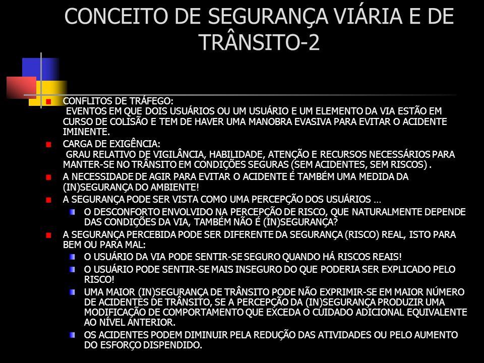 SELEÇÃO DE AÇÕES EM SEGURANÇA VIÁRIA-3 ANALISE OS TRATAMENTOS APLICÁVEIS PARA CORRIGIR AS DIFERENTES DEFICIÊNCIAS PRINCÍPIOS PARA IDENTIFICAÇÂO DAS INTERVENÇÕES POTENCIALMENTE EFICAZES: IDENTIFICAR TODAS AS AÇÕES POTENCIALMENTE EFICAZES PARA ELIMINAR O PADRÃO DOMINANTE DOS ACIDENTES (OU CONFLITOS...) OBSERVADOS NO LOCAL analisar a informação e a experiência técnica existente (ver QUADRO exemplo) para cada ação, determinar o requisito para correção da deficiência IDENTIFICAR OS ASPECTOS CONDICIONANTES DA INTERVENÇÃO NO LOCAL aspectos físicos existentes e restritivos aspectos relacionados com a comunidade e atividades locais aspectos orçamentários, recursos disponíveis DESENVOLVER DE FORMA COMPLETA AS PRINCIPAIS ESTRATÉGIAS DE INTERVENÇÃO AVALIAR O IMPACTO POTENCIAL EM TODOS OS ASPECTOS RELEVANTES DA OPERAÇÃO: eficácia da redução de cada tipo de acidente eventuais riscos introduzidos custos e outros impactos COMPARAR AS OPÇÕES E DISCUTIR COM OS INTERESSADOS...