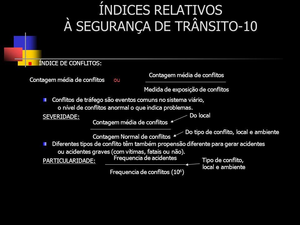 ÍNDICES RELATIVOS À SEGURANÇA DE TRÂNSITO-10 ÍNDICE DE CONFLITOS: Conflitos de tráfego são eventos comuns no sistema viário, o nível de conflitos anor