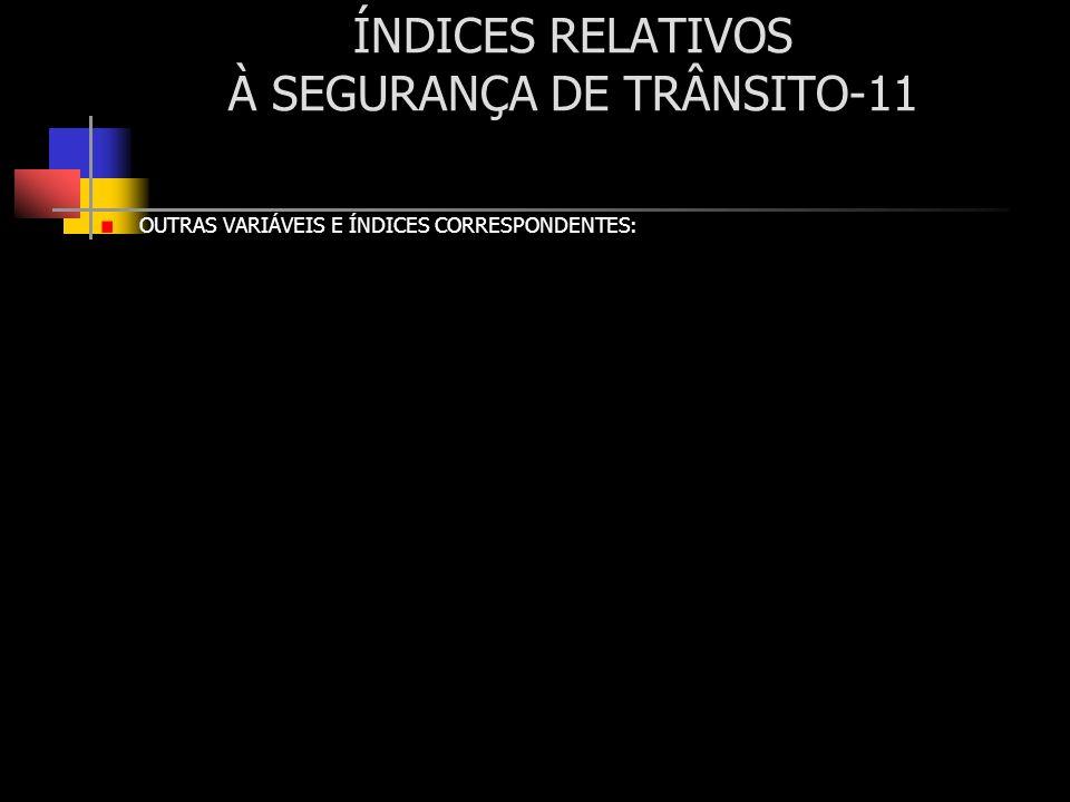 ÍNDICES RELATIVOS À SEGURANÇA DE TRÂNSITO-11 OUTRAS VARIÁVEIS E ÍNDICES CORRESPONDENTES:
