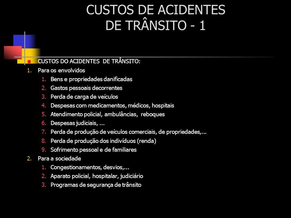 CUSTOS DE ACIDENTES DE TRÂNSITO - 1 CUSTOS DO ACIDENTES DE TRÂNSITO: 1.Para os envolvidos 1.Bens e propriedades danificadas 2.Gastos pessoais decorren