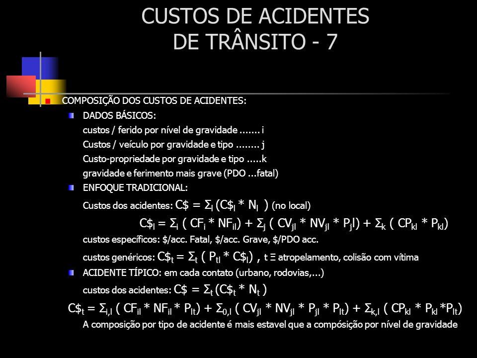 CUSTOS DE ACIDENTES DE TRÂNSITO - 7 COMPOSIÇÃO DOS CUSTOS DE ACIDENTES: DADOS BÁSICOS: custos / ferido por nível de gravidade....... i Custos / veícul