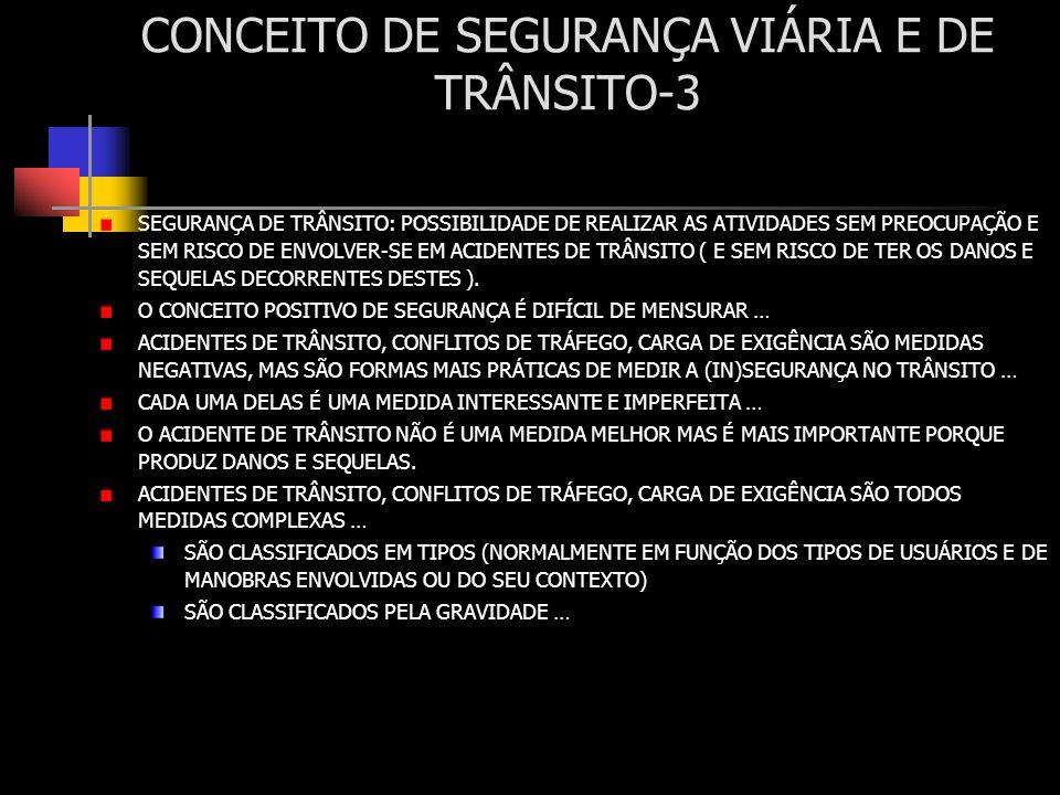 CONCEITO DE SEGURANÇA VIÁRIA E DE TRÂNSITO-4 ACIDENTES DE TRÂNSITO: TIPOS: COLISÕES: IMPACTO DE DOIS VEICULOS EM MOVIMENTO (ABALROAMENTO) FRONTAIS, TRASEIRAS, LATERAIS, TRANSVERSAIS, MÚLTIPLOS … ATROPELAMENTOS: ENVOLVEM UM USUÁRIO ( PESSOA OU ANIMAL) DESPROTEGIDO … SINGULARES: SEM COLISÃO, CHOQUE OU ATROPELAMENTO CAPOTAMENTOS, TOMBAMENTOS, QUEDAS, … CHOQUES: COM OBSTÁCULOS FIXOS, COM VEÍCULOS ESTACIONADOS … GRAVIDADE : FATAIS, COM VÍTIMAS (GRAVES, MÉDIAS, LEVES), SEM VÍTIMAS (DANOS APENAS À PROPRIEDADE, SIGLA USUAL: PDO, PROPERTY DAMAGE ONLY) ESCALA DE SEVERIDADE F: FATAL,IRRECUPERÁVEL A: INCAPACITANTE … B: COM HOSPITALIZAÇÃO C: SEM HOSPITALIZAÇÃO ESCALAS DE SEVERIDADE DETALHADAS EXIGEM A TIPIFICAÇÃO POR: MÉDICOS/PARAMÉDICOS AIS-ABREVIATED INJURY SCALE (13 NÍVEIS), ABNT NBR6061/80:(12 NÍVEIS), … MAIS-MINIMUM ABREVIATED INJURY SCALE (6 NÍVEIS), SIS (4 NÍVEIS~F/A/B/C).