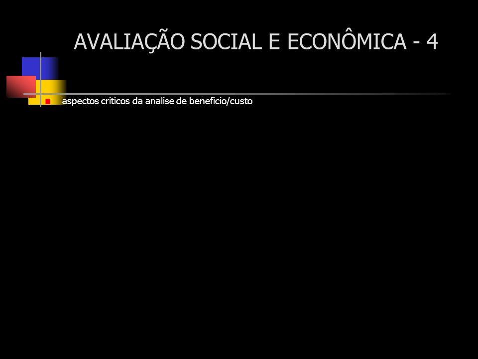 AVALIAÇÃO SOCIAL E ECONÔMICA - 4 aspectos criticos da analise de beneficio/custo