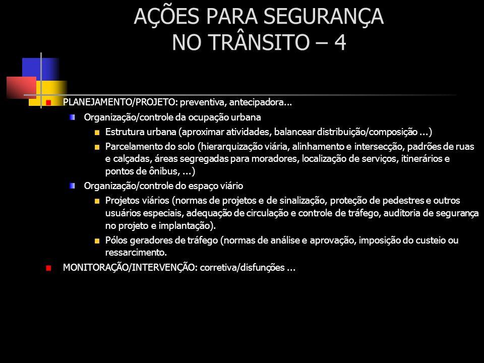 AÇÕES PARA SEGURANÇA NO TRÂNSITO – 4 PLANEJAMENTO/PROJETO: preventiva, antecipadora... Organização/controle da ocupação urbana Estrutura urbana (aprox