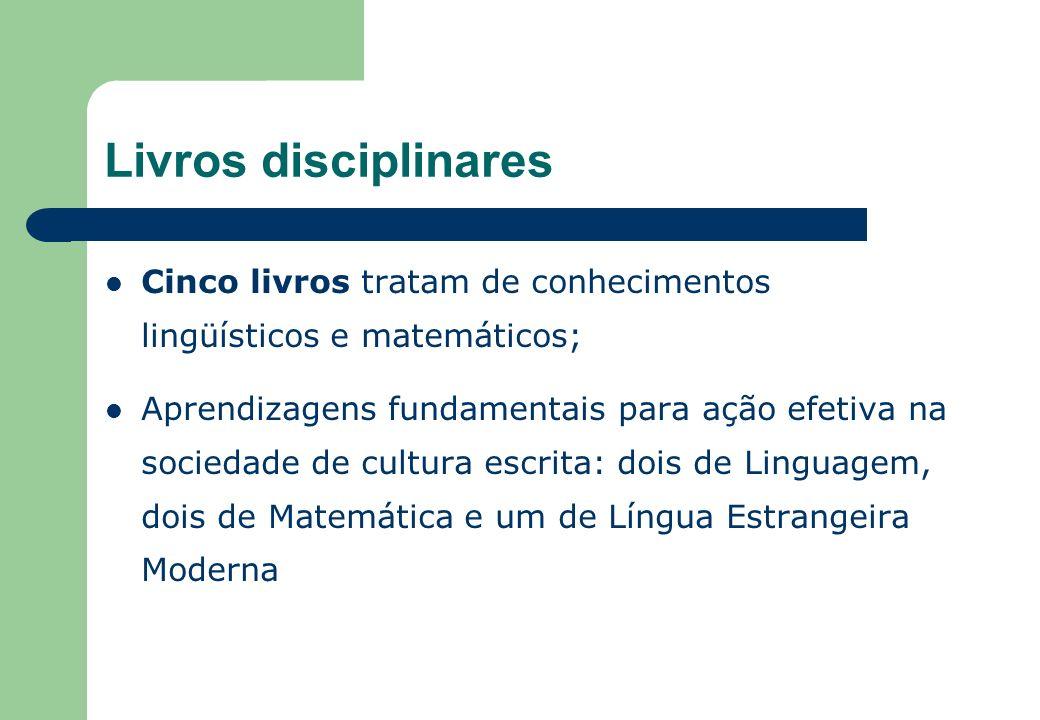 Livros disciplinares Cinco livros tratam de conhecimentos lingüísticos e matemáticos; Aprendizagens fundamentais para ação efetiva na sociedade de cultura escrita: dois de Linguagem, dois de Matemática e um de Língua Estrangeira Moderna