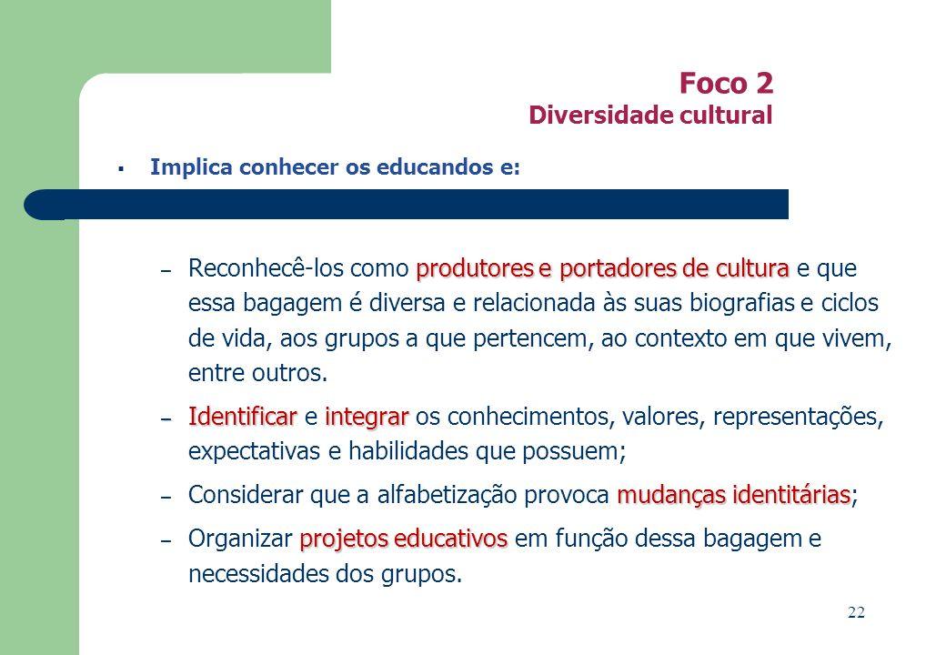 Foco 2 Diversidade cultural Implica conhecer os educandos e: produtores eportadores de cultura – Reconhecê-los como produtores e portadores de cultura e que essa bagagem é diversa e relacionada às suas biografias e ciclos de vida, aos grupos a que pertencem, ao contexto em que vivem, entre outros.