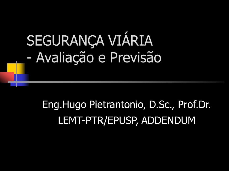 SEGURANÇA VIÁRIA - Avaliação e Previsão Eng.Hugo Pietrantonio, D.Sc., Prof.Dr. LEMT-PTR/EPUSP, ADDENDUM