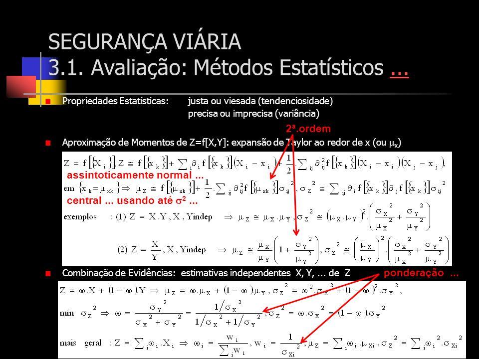SEGURANÇA VIÁRIA 3.1. Avaliação: Métodos Estatísticos...... Propriedades Estatísticas:justa ou viesada (tendenciosidade) precisa ou imprecisa (variânc